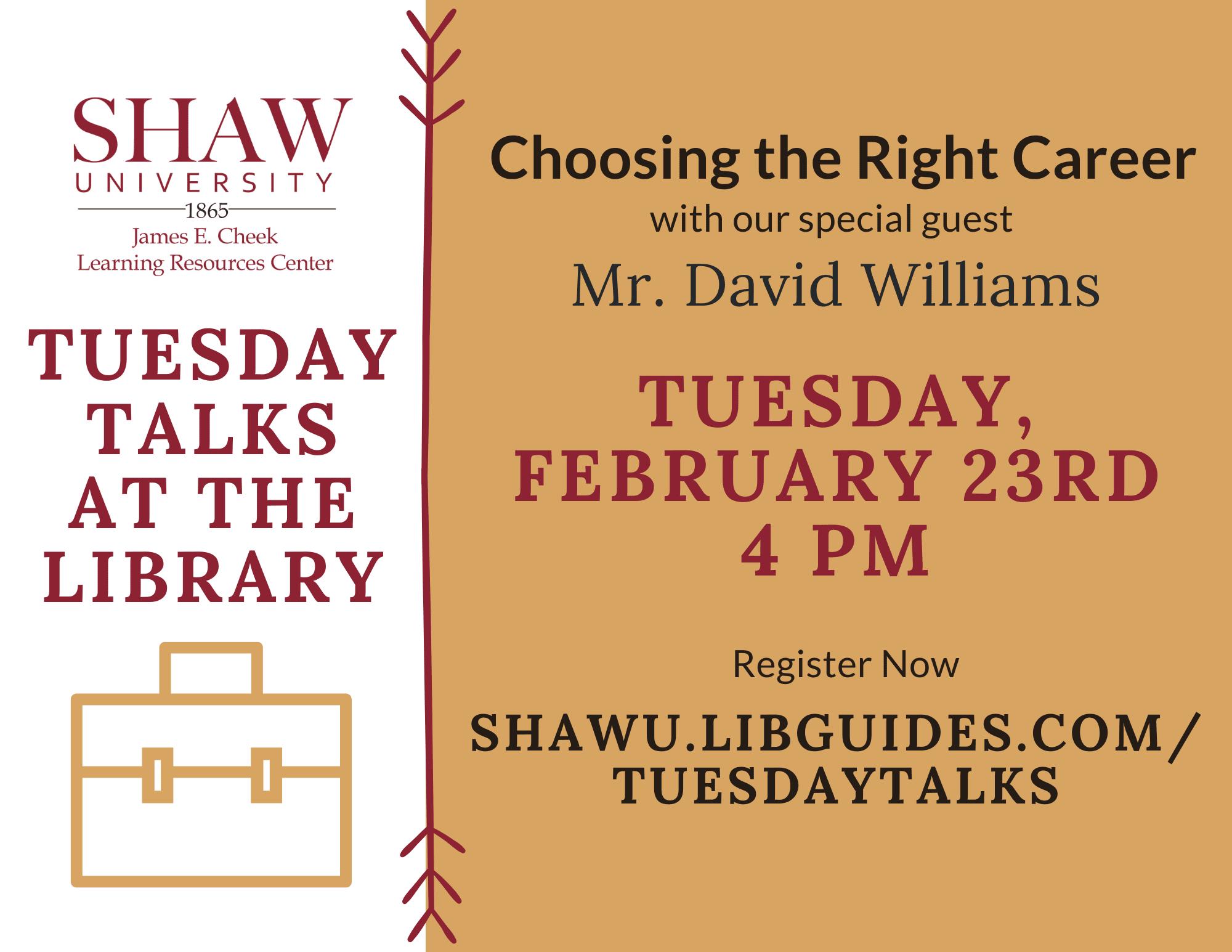 University Library - Tuesday Talks - David Williams