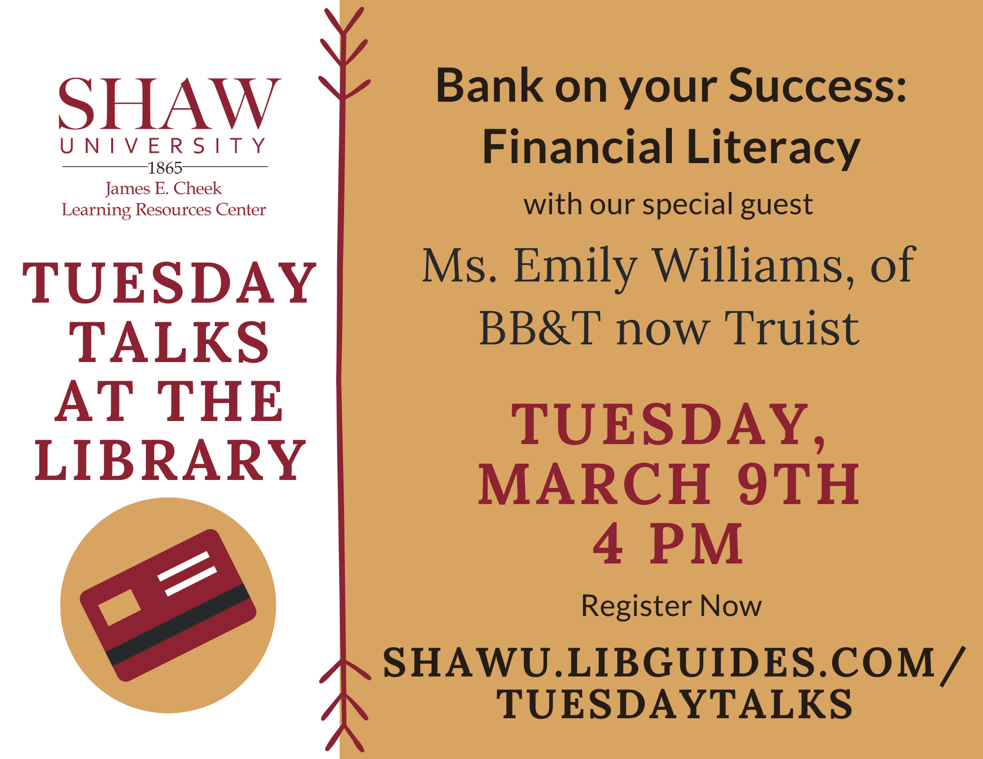 University Library - Tuesday Talks- Emily Williams, BB&T