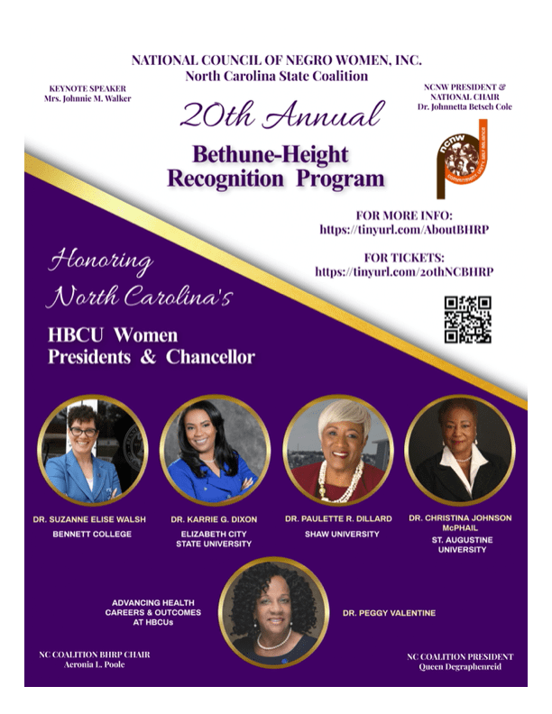 Revised - MARKETING NCSCNCNW - HBCU Women Presidents Chancellors - BHRP Honorees 2021