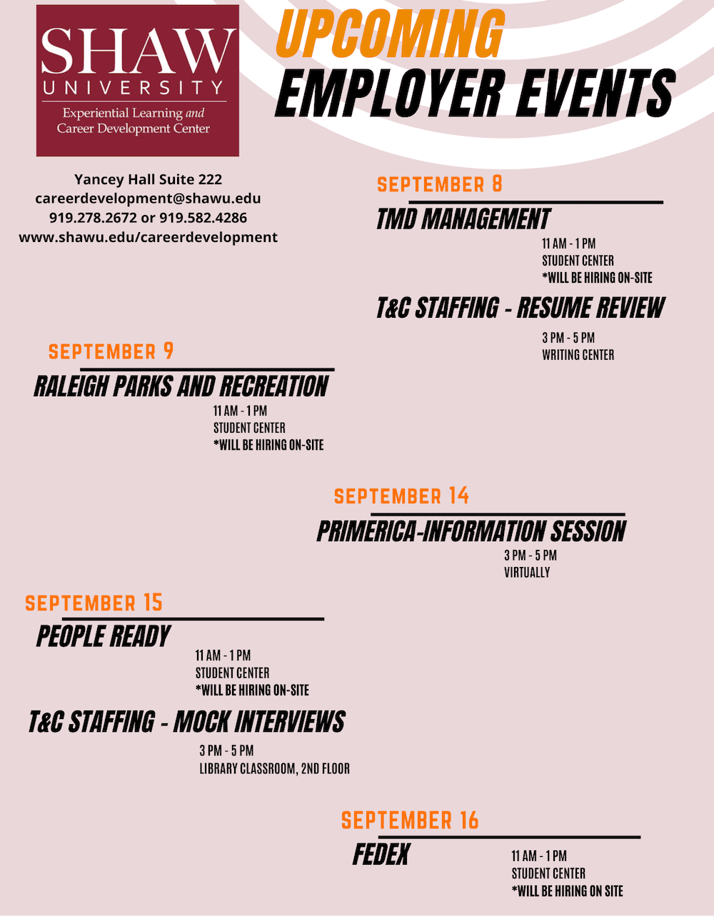 Experiential Learning Upcoming events