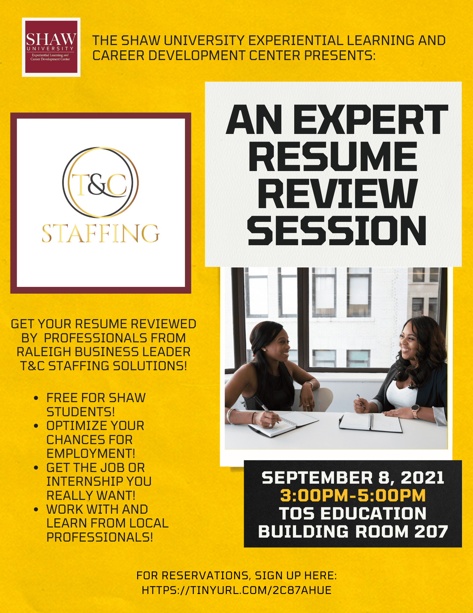 Experiential Learning and Career Development - Resume Review Event - Shaw University