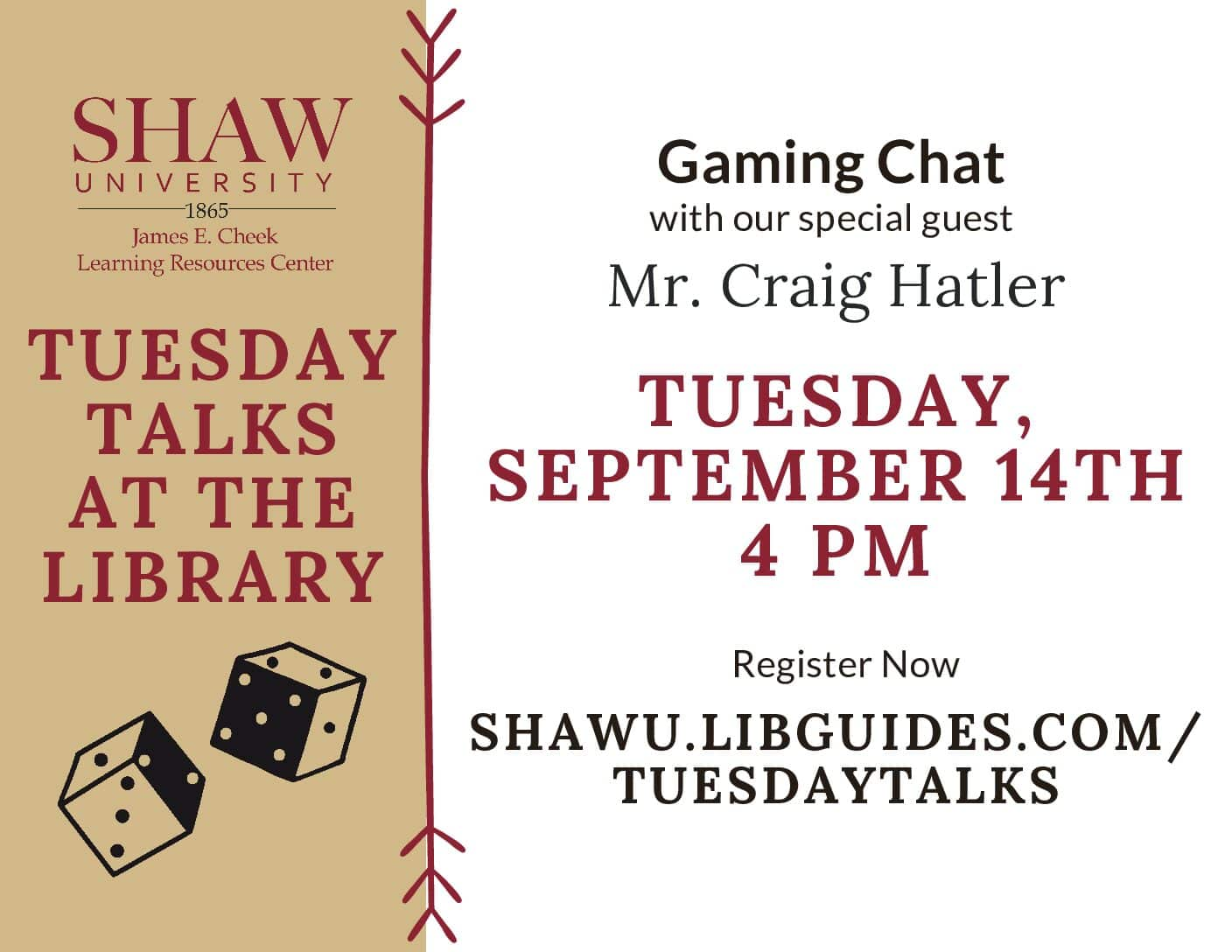 Tuesday Talks at the Library: Gaming Chat with Craig Hatler