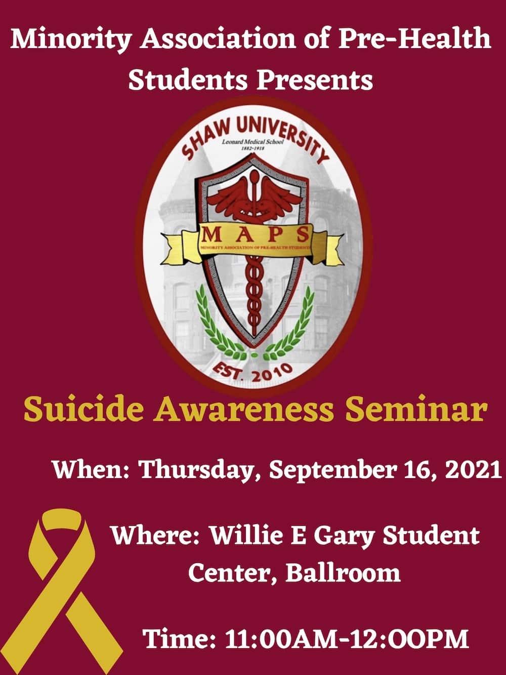 Minority-Association-of-Pre--Health-Students-Presents - suicide awareness seminar